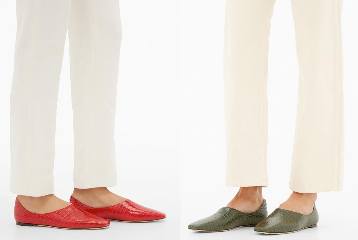 Jimmy Choo Joselyn square-toe crocodile-effect leather flats