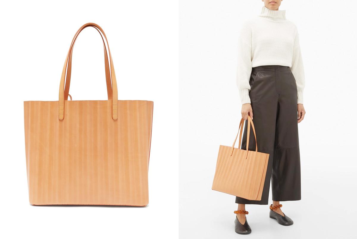 Mansur Gavriel Pleated leather tote bag