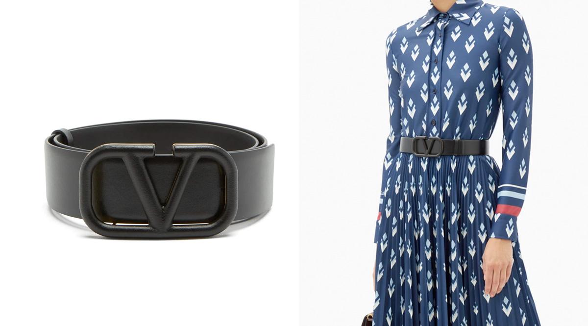 Valentino Garavani V-logo leather belt