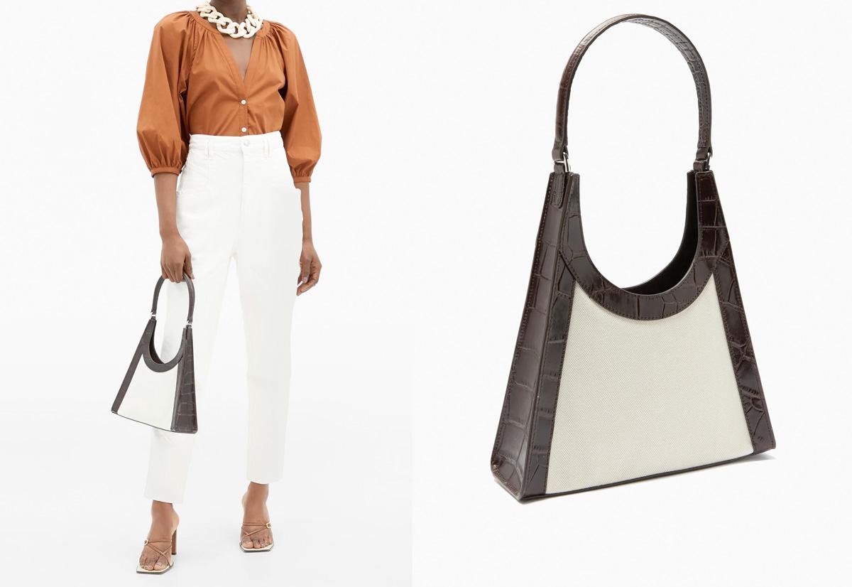 Staud Rey crocodile-effect leather and canvas handbag