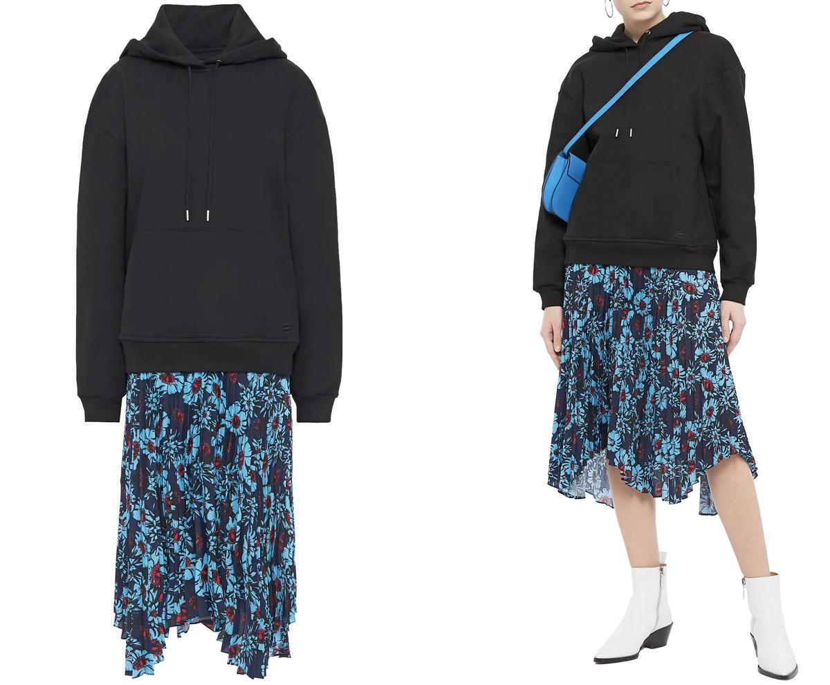 MARKUS LUPFER Emilee cotton-fleece and floral-print crepe de chine hooded midi dress