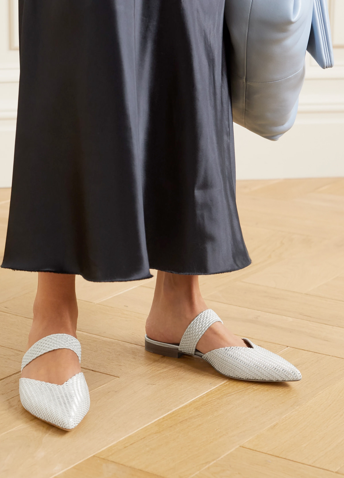 Malone Souliers Maisie cord-trimmed Lurex point-toe flats