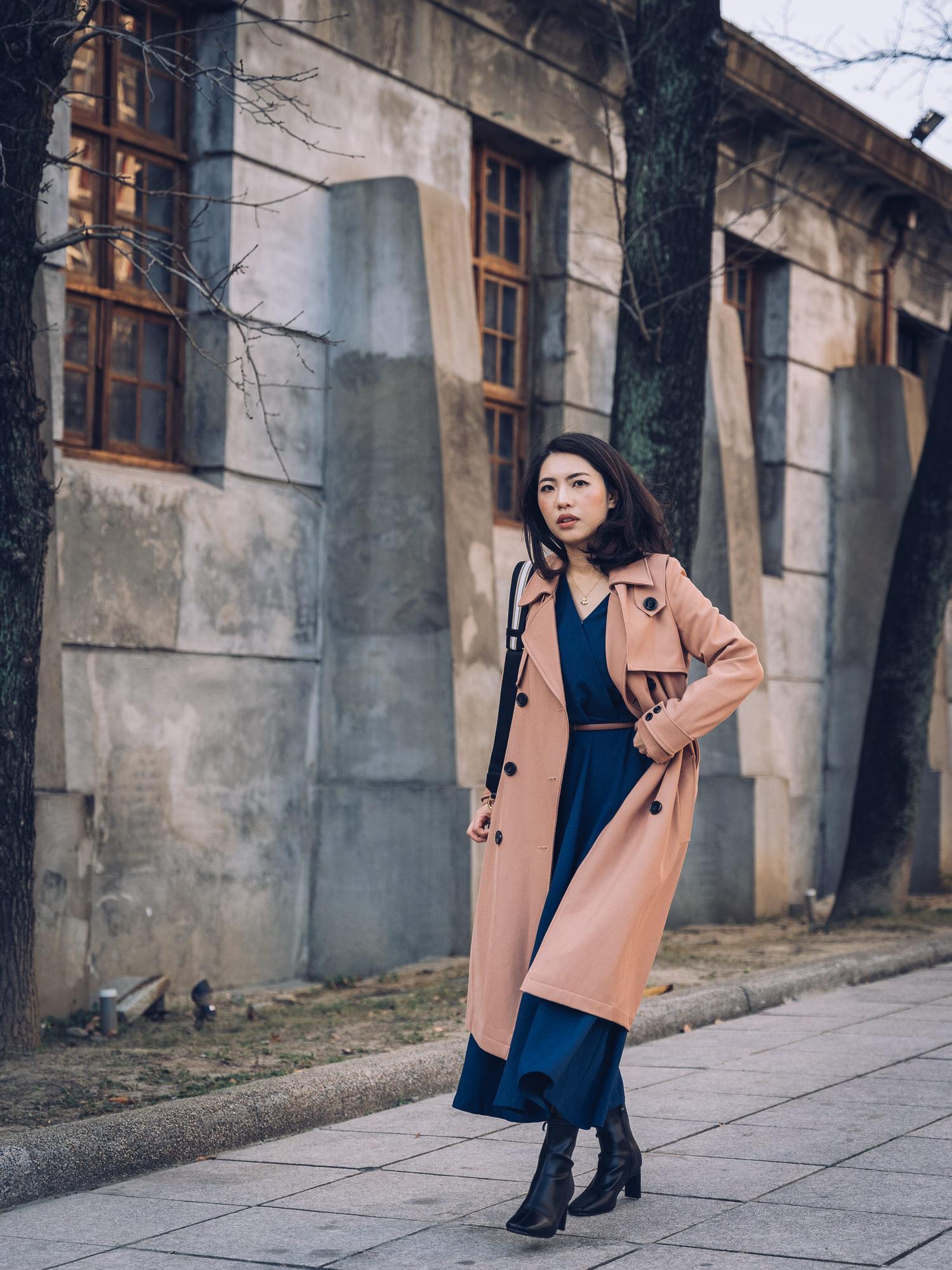 去不了日本 只好假裝自己在日本街頭~韓貨Dobe Korea洋裝&D+AF方頭短靴&存在感很低的Burberry皮帶😂