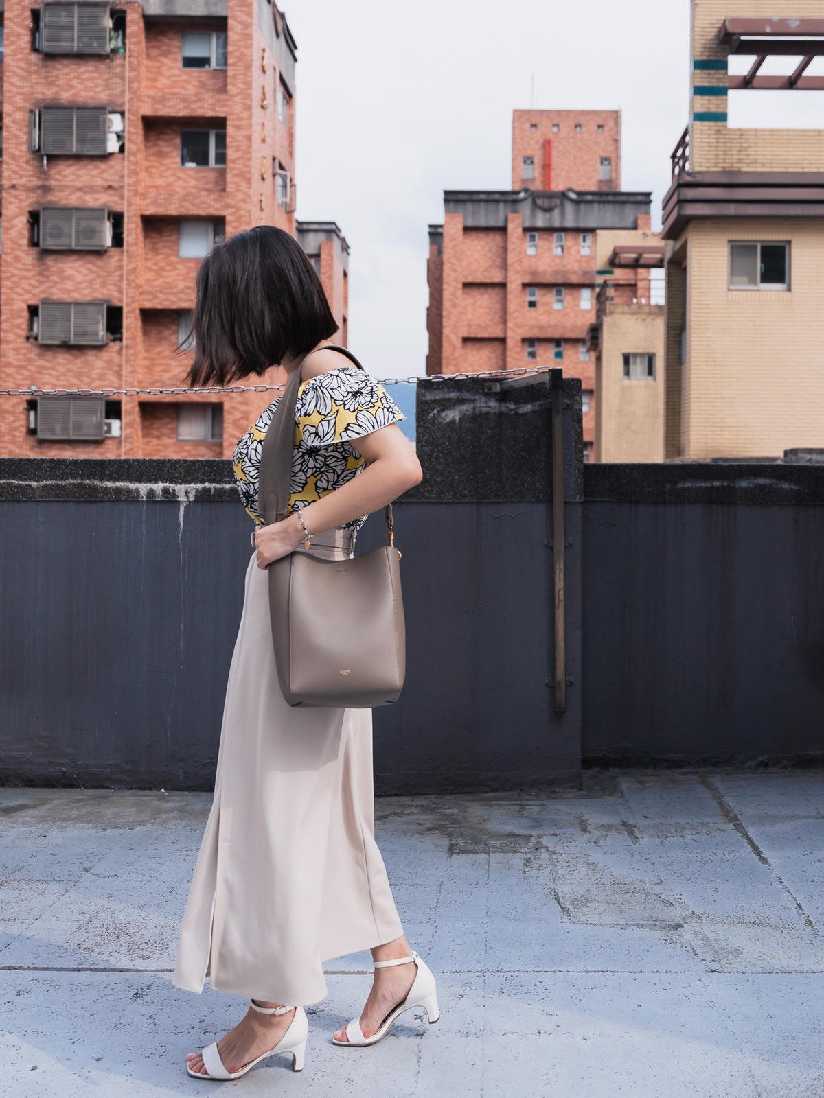 Celine Small Sangle Bag + ASOS黃色花朵露肩上衣 + Yourz 奶油色一片裙,一個女主管週五要下墾丁度假的Style😆