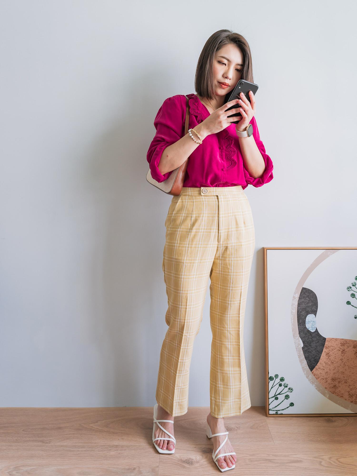 秋天の濃郁色調,桃紅色Sezane Chloé Shirt 絲質襯衫穿搭