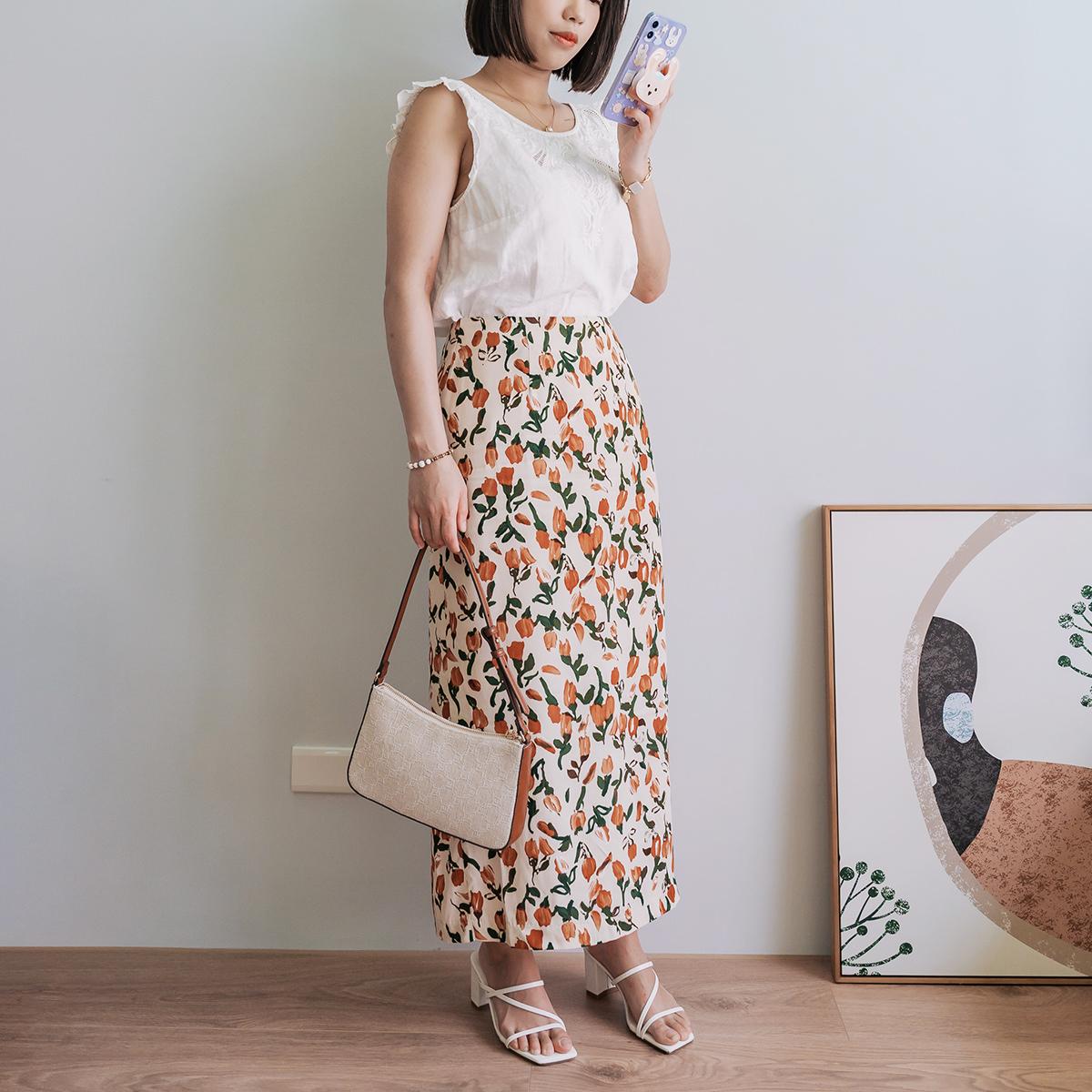 Loobook ∎ 立秋後的濃郁橘色調・Dobe Korea 鬱金香棉麻開衩窄裙